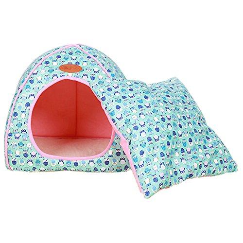 Haustier Nest Luxus Abnehmbare Weiche Gemütliche Welpen Kätzchen Bett Warme Haus Zelt Waschbar Faltbare Hund & Katze Winter Bett Blau L (Blue-luxus-hund-bett)