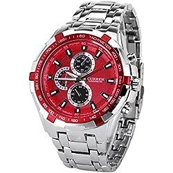 Men Wrist Watch - CURREN Stylish Quartz Wrist Watch for Men, Amazing looking watch Designer Watches Fashion Waterproof Curren Chronometer Watch with Strip Hour Marks (Silver + Red)
