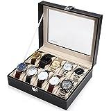 Readaeer Montres Box pour 10 montres Boîte de stockage avec couvercle en verre Noir en Cuir PU
