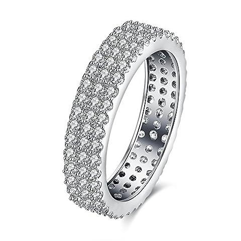 Thumby Cuivre Plaqué Platine 3.6g Romantique Trois Rangées De Bague De Diamant pour les femmes,white,9