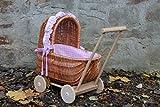 Puppenwagen aus Weide mit geflochtenem Verdeck und Holzgriff...Stoff Rosa kariert...extra Stabil...
