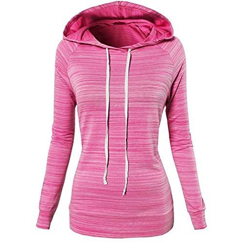 Shirt Patchwork Kostüm Erwachsene Für - Yvelands Damen Sweatshirt Beiläufige Hoodies Weisewunden Patchwork Damen mit Kapuze Blusen Pullover Mantel (CN-M, Pink1)