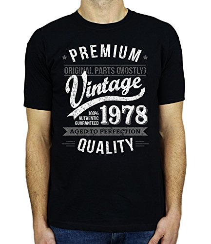 1978 Vintage Year - Aged To Perfection - 40th Birthday Gift / Present Mens T-Shirt Black 2XL