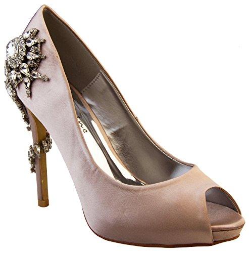 Donna Sabatine Satin Diamante tacchi alti 11.5cm Scarpe da sposa Champagne