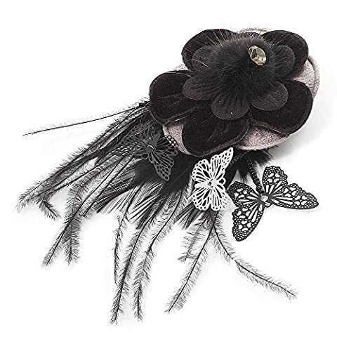 Black Feather Flower And Butterfly Fabric Hair Clip/ Brooch (Catwalk - 2014)