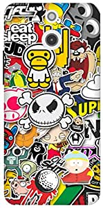 The Racoon Grip printed designer hard back mobile phone case cover for HTC One (E8). (Sticker Bo)