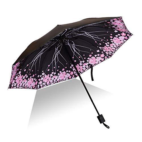 LYJZH Reiseregenschirm - Kompakter windfester Regenschirm - sehr leichtes und faltbares Design Bedruckter Vinylschirm dreifach farbig11 100cm