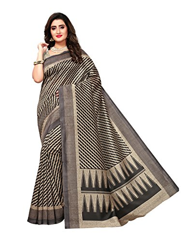 Varayu Women's Beige Color Poly Silk Printed Saree(768S8-Beige)