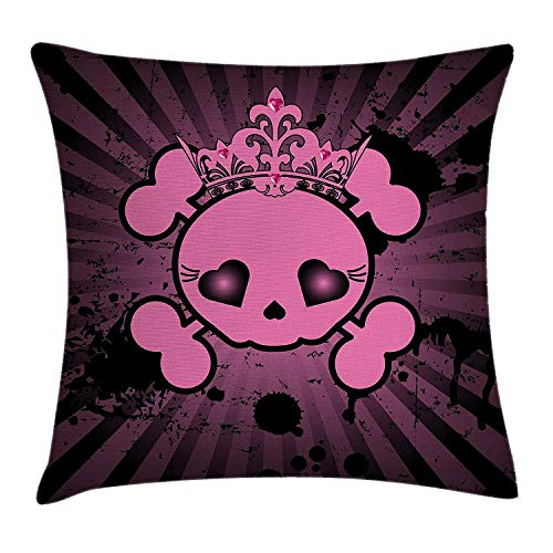 Trsdshorts Skull Throw Pillow Cushion Cover, Cute Skull Illustration with Crown Dark Grunge Style Teen Spooky Halloween Print, Decorative Square Accent Pillow Case, 18 X 18 inches, Pink Black