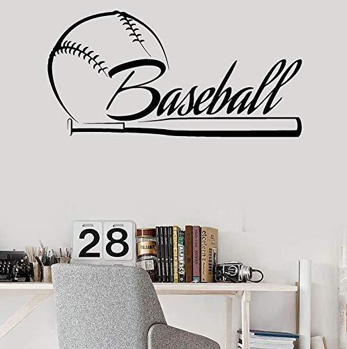 Baseball Wandtattoos Schriftzug Fledermaus Sport Vinyl Fenster Aufkleber Baseball Fans Jungen Schlafzimmer Home Decoration Kreatives Wandbild 83X42Cm