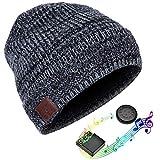 JIANYIJIA Cuffie Cappello,Senza Fili Bluetooth Auricolare Cappello musicale Cappello Smart Inverno Berretto lavorato a maglia con auricolari stereo e microfono integrato (Modello nero)