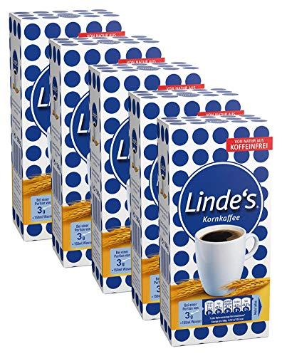 Nestlé LINDE\'S KORNKAFFEE, koffeinfrei, mit Gerstenmalz, mild-würziger Geschmack & intensives Aroma ohne Koffein, 5er Pack (5 x 500g)