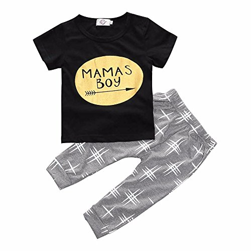 Ouneed® 3 - 36 mois Bebe Garcon 2pcs Ensemble Tops Shirt + Pantalon (3mois, Noir)