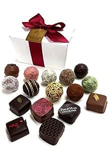Philip Maes Fine Chocolates - 16 Luxury Handmade Belgian Milk & Dark Chocolate Truffles & Pralines - Chocolate Gift 175g