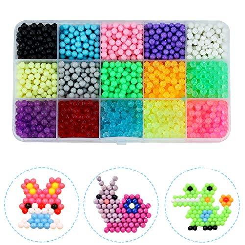Fcostume Fuse Beads Refill Wasser Klebrige 24 Farben Wasser Fuse Beads Kit - 3000 Perlen Lernspielzeug für Kinder (B)