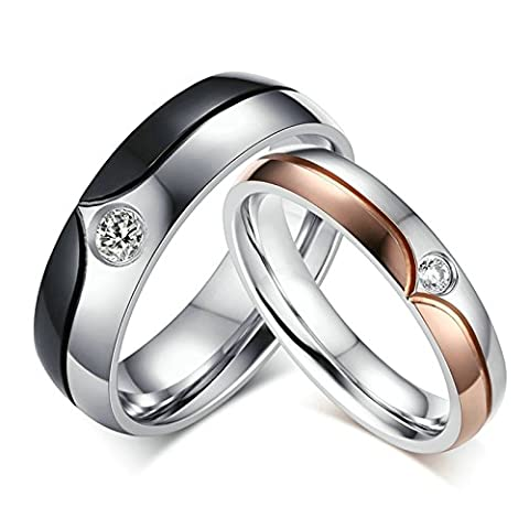 Jasmineees Schmuck Damen Ring,Runde Form Breite 6mm CZ Zirkonia Edelstahl Trauringe Ehering Verlobungsringe für Damen Rose Gold Silber Größe 54 (17.2)