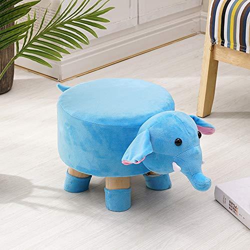 Paddia Pouf en Bois Massif avec Motif zèbre et Pouf Tabouret Table Basse Canapé Entrée Banc Salon Moderne Gris Clair Tapisserie d'ameublement Animal (Color : Blue Elephant)