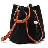 Turelifes Tassel seaux Totes Sac à main pour femme Pâtes et sacs à bandoulière Sac de hanche 3Dos méthode - Noir - noir,