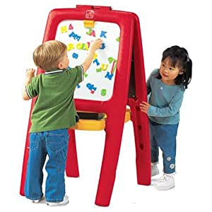 Step 2 885200 Art Easel for Two with Bonus Magnetic Letters/Numbers, Red and Yellow