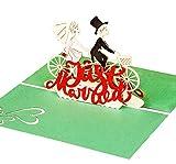 """Liebevolle Hochzeitskarte """"Just Married"""" – 3D Pop-Up Karte mit verliebtem Paar auf Fahrrad für Glückwunsch & Einladung – hochwertige Karte zur Hochzeit & als Hochzeitsgeschenk"""