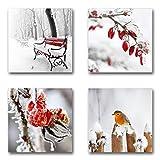 Winter Set A schwebend, 4-teiliges Bilder-Set jedes Teil 29x29cm, Seidenmatte Optik auf Forex, moderne Optik, UV-stabil, wasserfest, Kunstdruck für Büro, Wohnzimmer, XXL Deko Bild