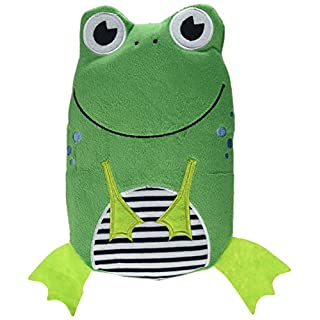 Hugo Frosch Hot Water Bottle with Frog Cover and Heat-Insulating Lining, Green, One Size