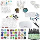 5 Piezas 30ML Crystal Epoxy Resin UV Glue, 1 Piezas Mini UV LED Lamp, 1 Pinza 3 Kit Set Decoración, 11 Piezas Transparant Silicone Mold 100 Piezas Anillos de oro Accesorios Metal para Nail Art