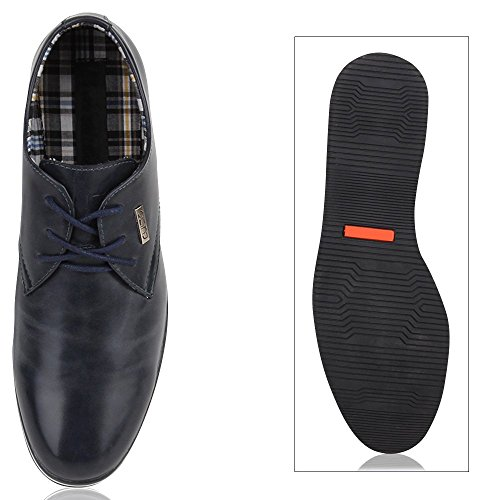 Modische Herren Schuhe   Business Schnürer   Halbschuhe Sneakers   Prints Lederoptik Freizeitschuhe Dunkelblau Weiß