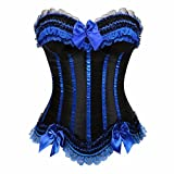Top con strascico da donna Topper overbust con bustino Bustier Top da donna Halloween per Showgirl Nero blu XL