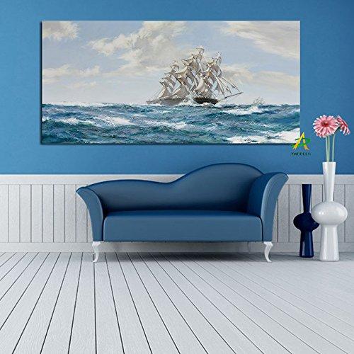Kreative Arbeit Stil HD Print Boot Segel auf Ozean Abstrakte Leinwand Malerei Poster Moderne Kunst Wandbild für Wohnzimmer Dekoration (Kein Rahmen) A5 40x60 CM - Boot Leinwand Kunst