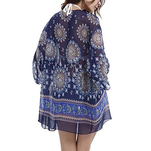 GAXmi Damen Sommer Kimono Stil Gedruckt Chiffon Strand Bikini Pareos Strandkleider Blau