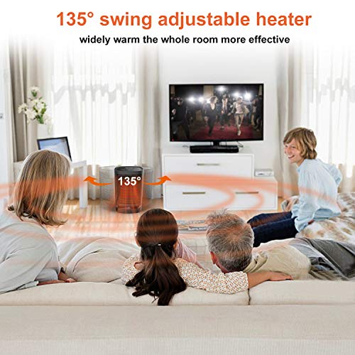51%2Bcoby4zYL. SS500  - KKCITE Portable Electric Ceramic Space Heaters, 2 in1 2SPersonal Heater Fan with Auto Oscillating Hot & Cool Mode, Tip-Over & Over-Heat Protection 950W with Worldwide Adapters