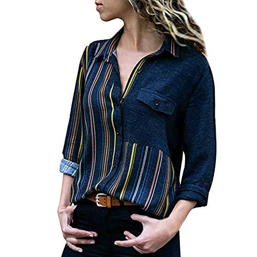 CAOQAO Art- Und Weise Frauen Knopfleiste Bluse LäSsige Plaid Printed Kurzarm V-Ausschnitt UnregelmäßIger Rand Bluse T-Shirt Tops(L,Navy)