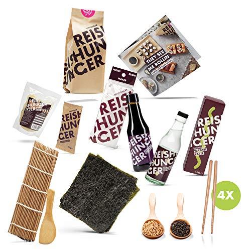 Reishunger Sushi Premium Box (13-teilig, für 4 Personen) - Sushi Maker, Nori Algen, Sushi Reis, Sojasauce, Bambusmatte und vieles mehr