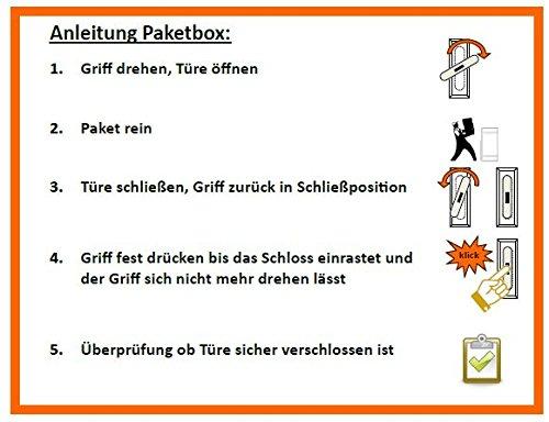 Paketkasten Paketbox Aufkleber Anleitung