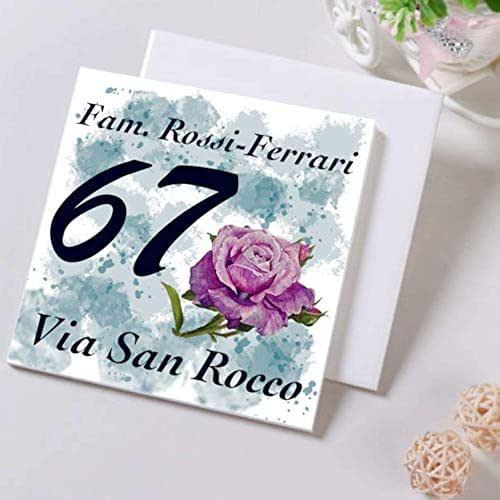 Numero Civico in Ceramica PERSONALIZZABILE,Numero Civico su Mattonella in Ceramica 15x15cm con Indirizzo e Nome Famiglia Personalizzato,Numeri Civici Moderni per Esterno.