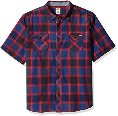 Dickies Men's Big and Tall Regular Fit Short Sleeve Fashion Pocket Plaid Shirt, Dark Navy/Cardinal, 3XL (T-shirt Dickies-heavyweight)