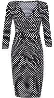 Glamour Empire. Damen Kleid Punktemuster. Ärmeln 3/4. V-Ausschnitt. Taschen. 019