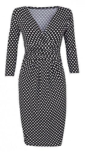Glamour Empire. Femme robe fourreau a pois à taille froncée. Manches 3/4. 019 Noir à pois
