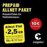 congstar Allnet Paket [SIM, Micro-SIM und Nano-SIM] - Das Prepaid Paket für Vieltelefonierer in bester D-Netz-Qualität inkl. 10 EUR Startguthaben.