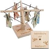 Geld-Wäschespinne zur Hochzeit: Eine kreative Möglichkeit Geld originell zu verpacken - individualisierbar mit persönlicher Gravur für das Brautpaar und romantischem Täubchen Design