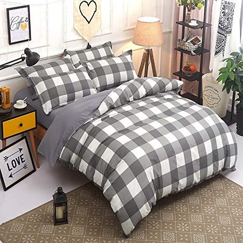XMDNYE Home Textile Hexagon Bedding Set Duvet Cover Stripe Flat Bed Sheet Pillowcase King Twin -