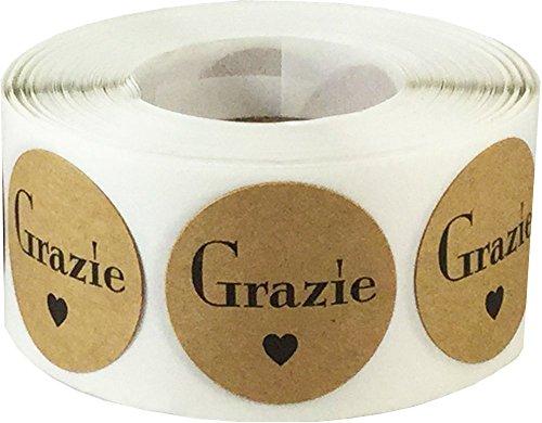 Kraft Marrone Cerchio con Nero Grazie Adesivi, 25 mm 1 Pollice Rotondo, 500 Etichette su Rotolo