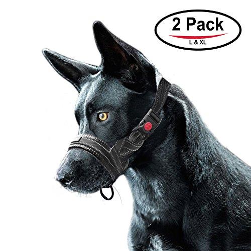 Bozal de Nylon para Perros, 2 Paquetes Ajustable Lazo Bloqueo de Seguridad Franja Reflectante Bozal - L & XL (Negro)