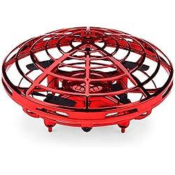 Teepao UFO - Pelota voladora de Juguetes, Mini cuádruple Drone Auto Evite Obstáculos Helicóptero Bola con 360 ° de Luces LED giratorias para niños, Adultos