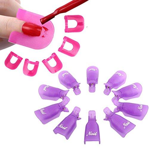 Tonsee 10Pcs Nail Art Soak Off Cap clip UV Gel Polish Remover Wrap+26pcs Nail Modèle Spill Protector manucure Preuve Outils, Violet