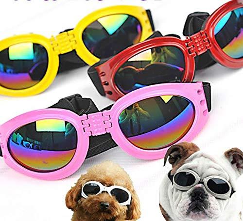Hpybest Faltbare Haustierbrille, Größe M/L, für Haustiere, wasserdichte Schutzbrille, UV-Sonnenbrille, zufällige Farbauswahl