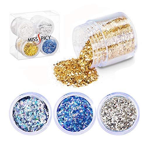 Gold-glitter Make-up (Glitzer Festival Kosmetik Glitzer für Gesicht Nail Nägel Lippen Haare Körper Make Up Glitzer Pailetten für Party Clubs Weihnachten (4 Farbe))