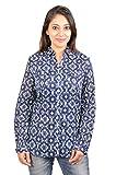 SHERTS Women's Full Sleeve Cambric Blue Casual Shirt