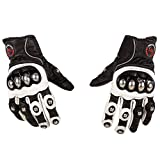 Automotive Accessories Best Deals - Autofy Pre Curved Armour Anti Slip Full Finger Leather Riding Driving Gloves (White and Black, XL)